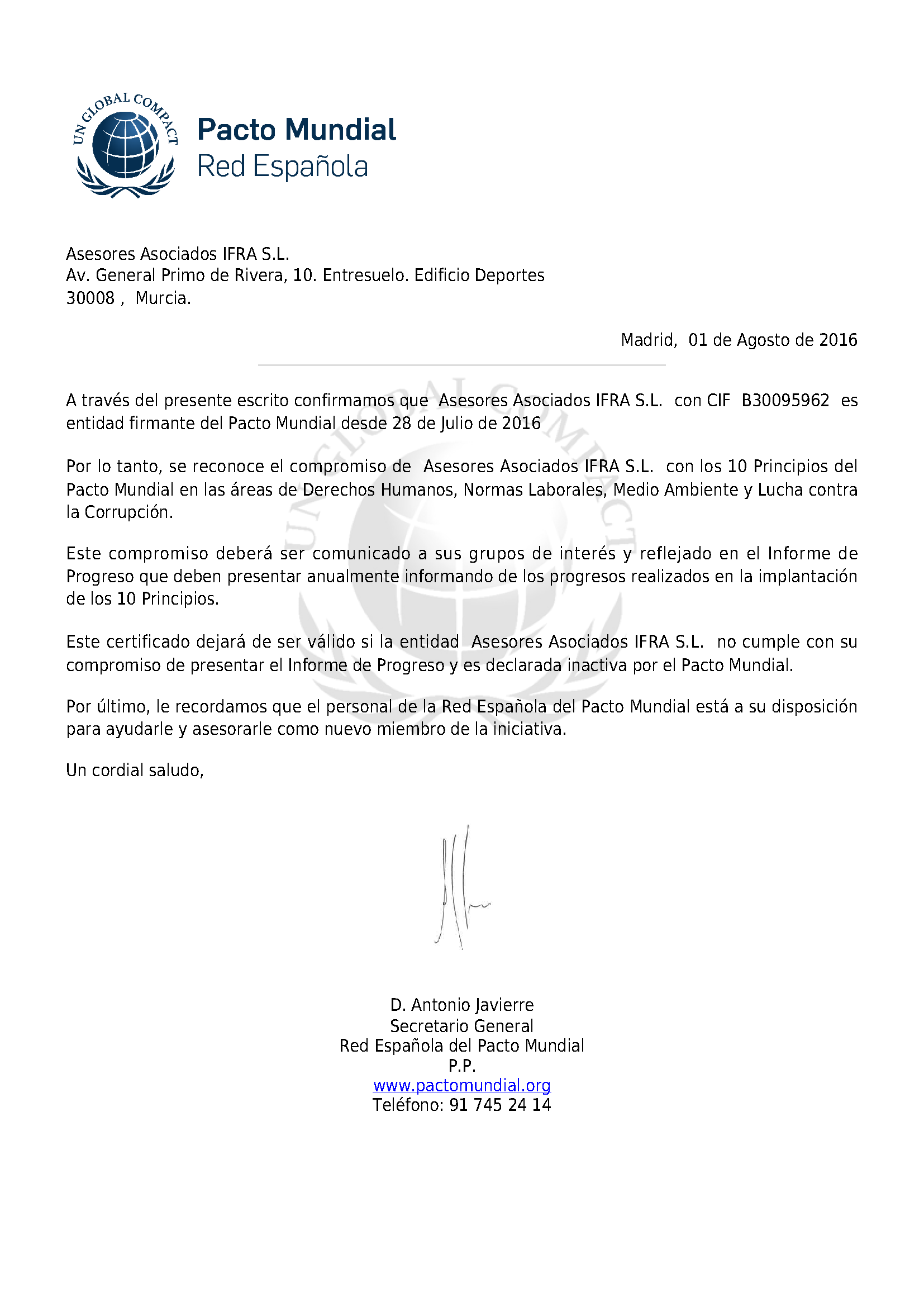 IFRA asesores se adhirere al Pacto Mundial